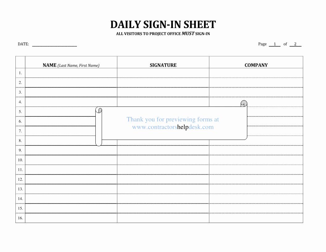Daily Sign In Sheet Template Awesome Contractors Help Desk forms
