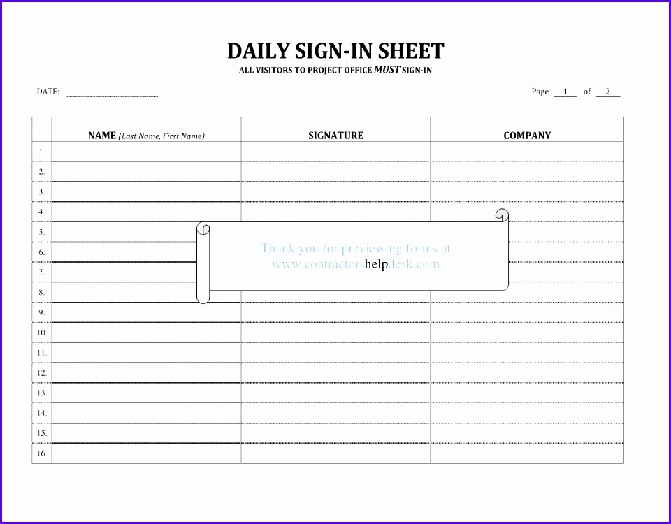 Daily Sign In Sheet Template Best Of 8 Sign In Sign Out Sheet Template Excel Exceltemplates