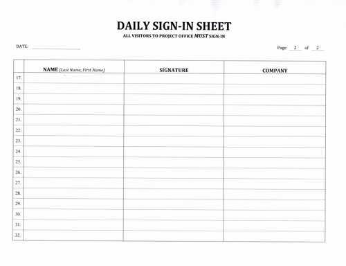 Daily Sign In Sheet Template New Contractor S Daily Sign In Sheet $7 99 Download now