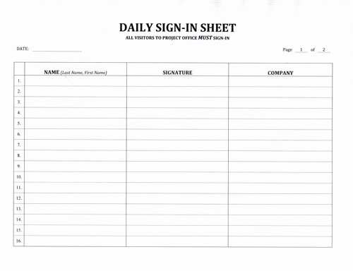 Daily Sign In Sheet Template Unique Contractor S Daily Sign In Sheet $7 99 Download now