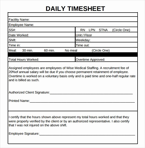 Daily Time Card Template Excel Beautiful 21 Daily Timesheet Templates Free Sample Example