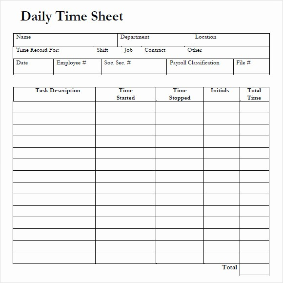 Daily Time Card Template Excel Beautiful 8 Sample Daily Timesheet Templates