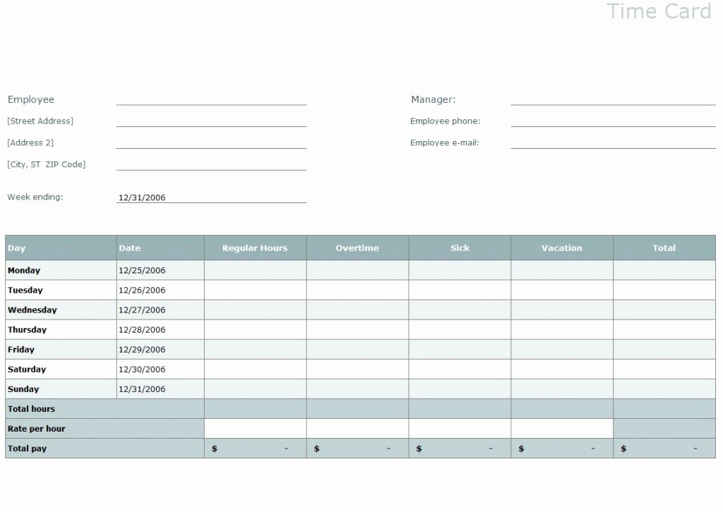 Daily Time Card Template Excel Beautiful Time Card Template