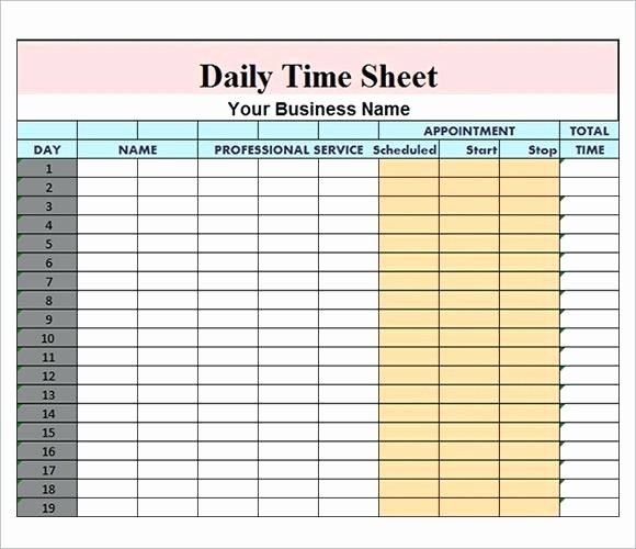 Daily Time Card Template Excel Inspirational Daily Time Sheet format In Excel 20 Daily Timesheet