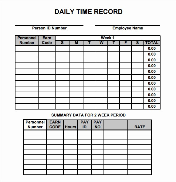Daily Time Card Template Excel Inspirational Daily Timesheet Template 10 Free Download for Pdf Excel