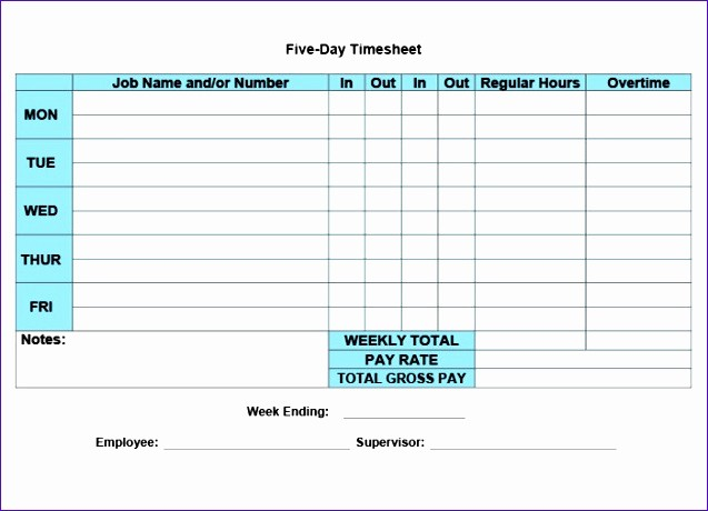 Daily Time Card Template Excel Lovely 12 Daily Timesheet Template Excel 2010 Exceltemplates