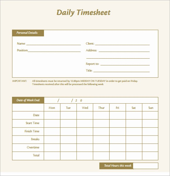 Daily Time Card Template Excel Luxury 15 Sample Daily Timesheet Templates to Download