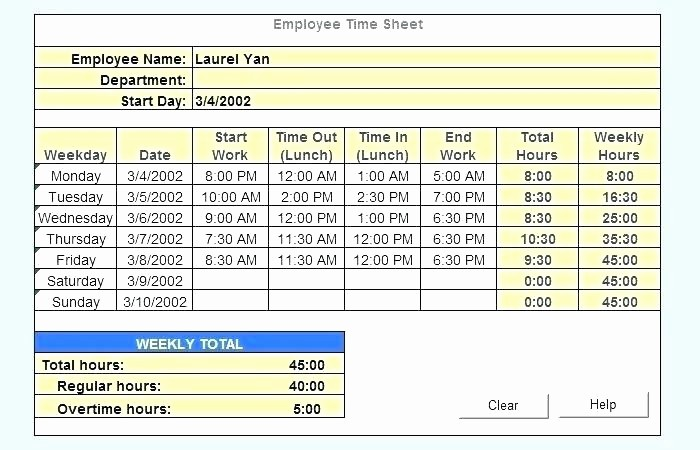 Daily Time Card Template Excel Unique Excel Time Card Template Excel Time Sheet Template Time