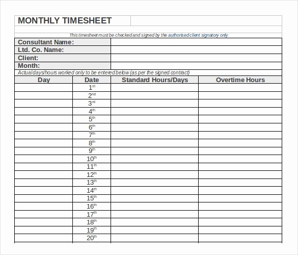 Daily Time Sheet Template Excel Beautiful 23 Monthly Timesheet Templates Free Sample Example
