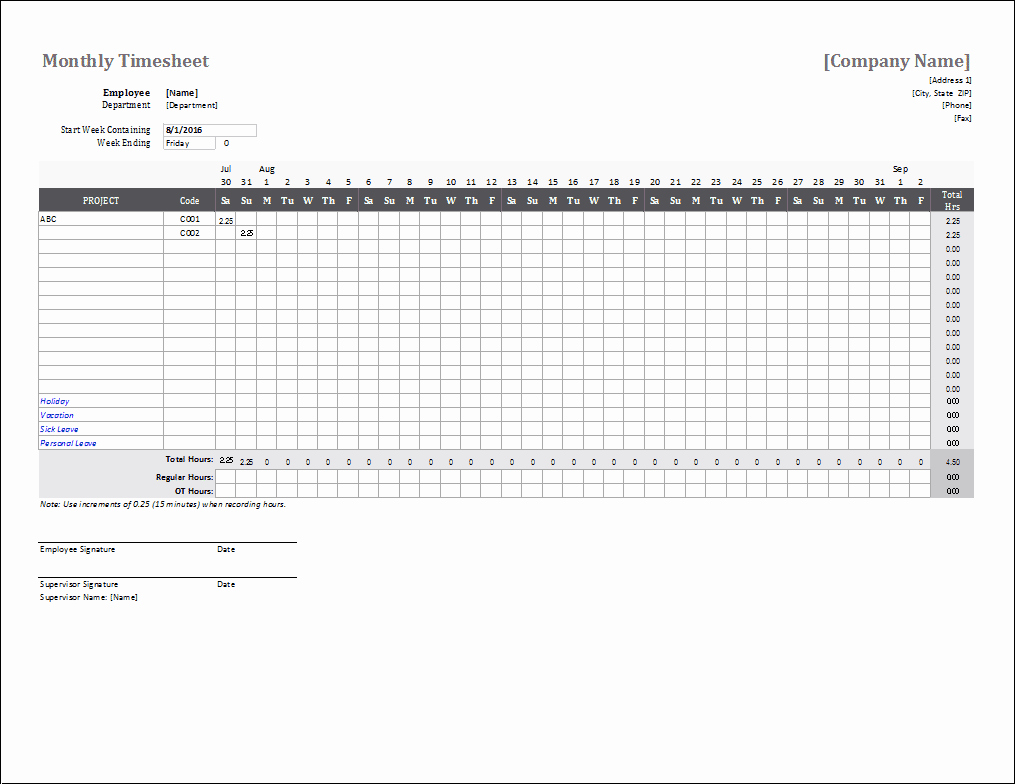 Daily Time Sheet Template Excel Beautiful Monthly Timesheet Template for Excel
