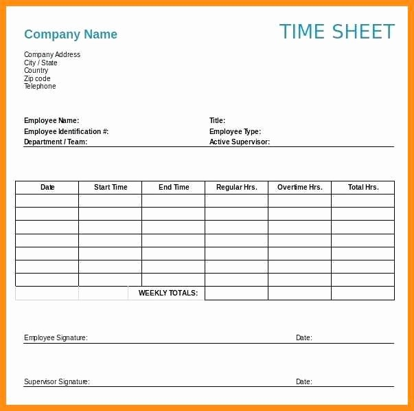 Daily Time Sheet Template Excel Fresh 12 Time Sheets