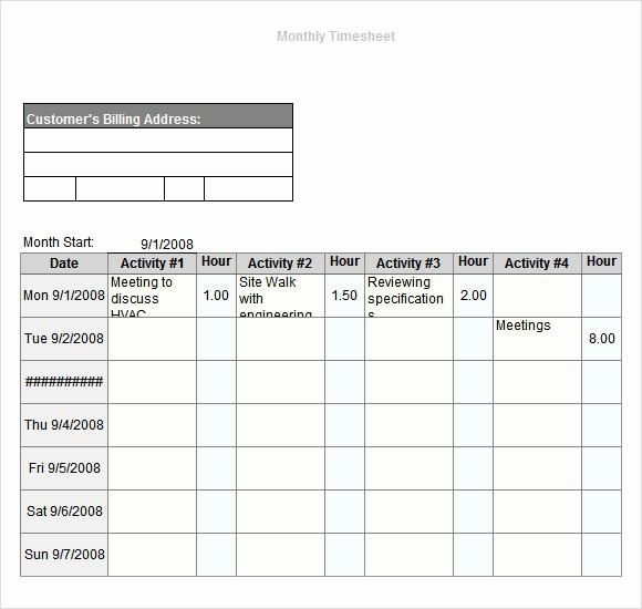 Daily Time Sheet Template Excel Luxury 12 Sample Monthly Timesheet Templates