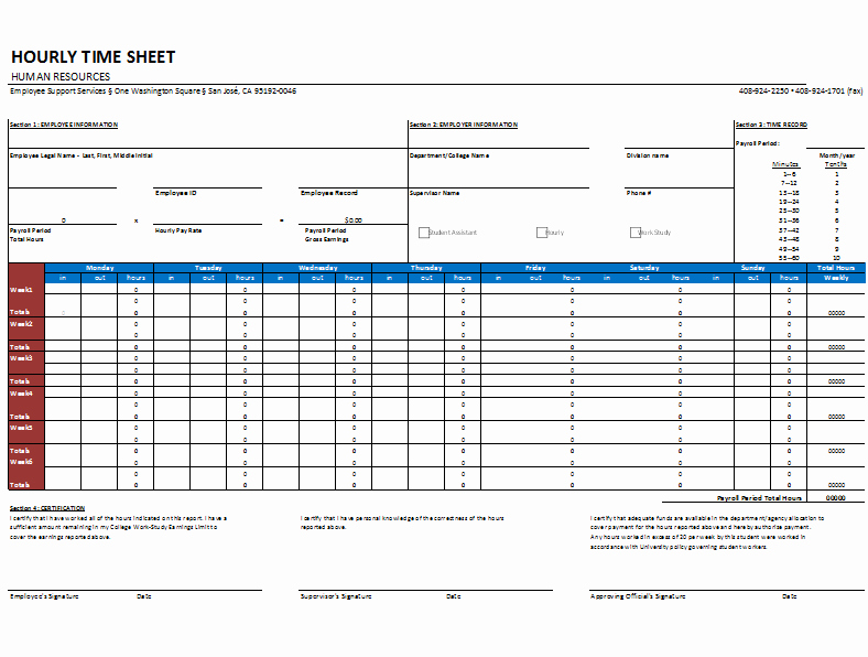 Daily Time Sheet Template Excel Luxury Hourly Timesheet Template for Weekly and Monthly Basis