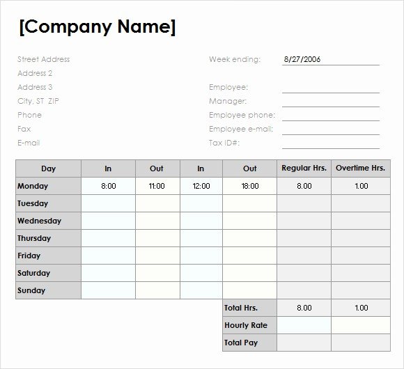 Daily Time Sheet Template Excel Unique 10 Weekly Timesheet Templates