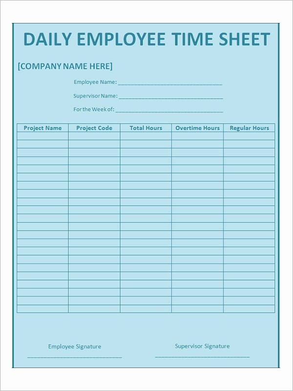 Daily Time Sheets Free Printable Best Of 17 Timesheet Calculator Templates to Download for Free