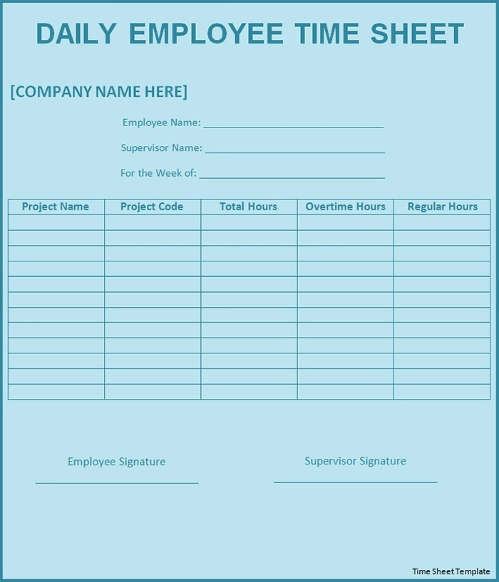 Daily Time Sheets Free Printable Fresh 60 Sample Timesheet Templates Pdf Doc Excel