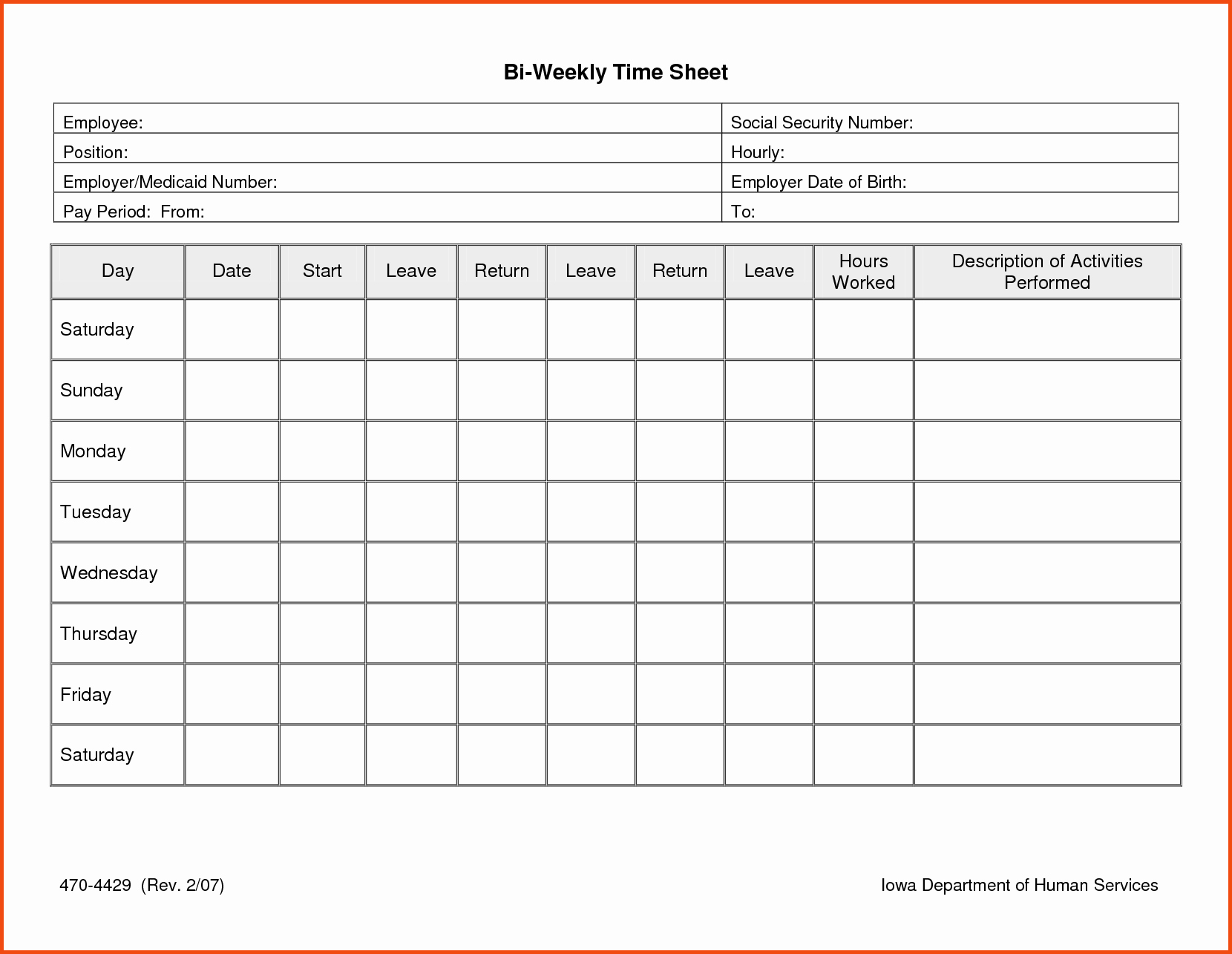Daily Time Sheets Free Printable Inspirational Daily Timesheet Template Free Printable