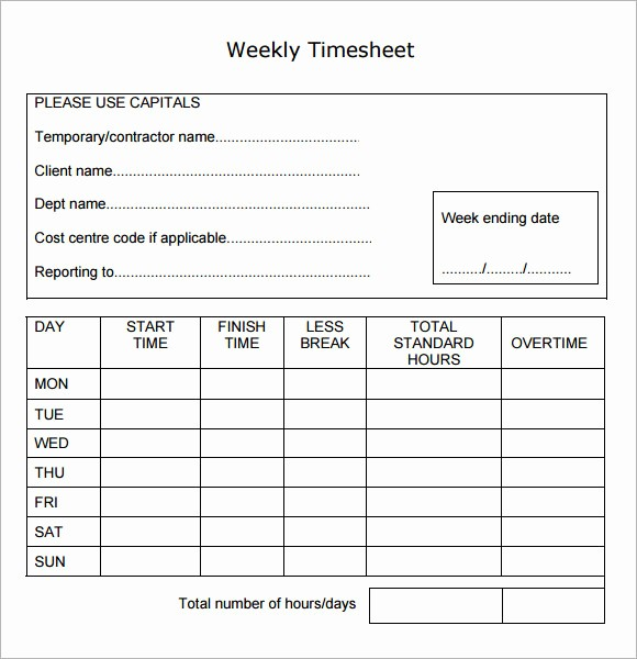 Daily Time Sheets Free Printable Lovely Weekly Timesheet Template 8 Free Download In Pdf