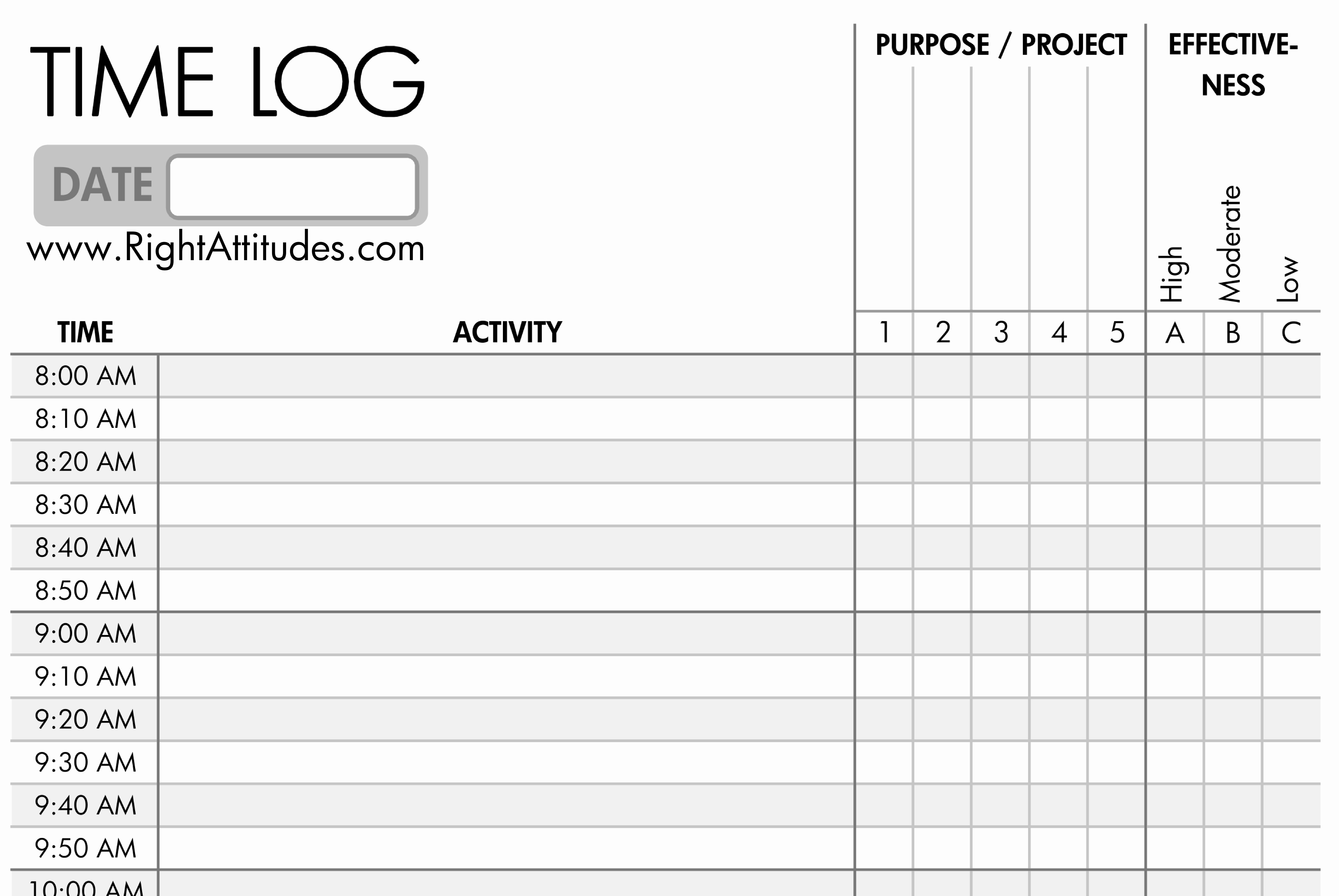 Daily Time Sheets Free Printable New 7 Best Of Printable Daily Time Log Daily Work Log