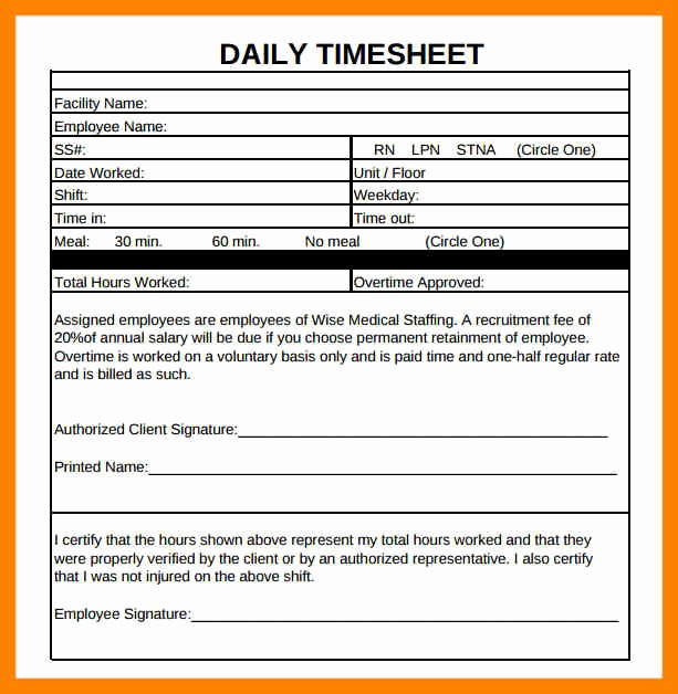 Daily Time Sheets Free Printable Unique 8 Free Printable Daily Time Sheets