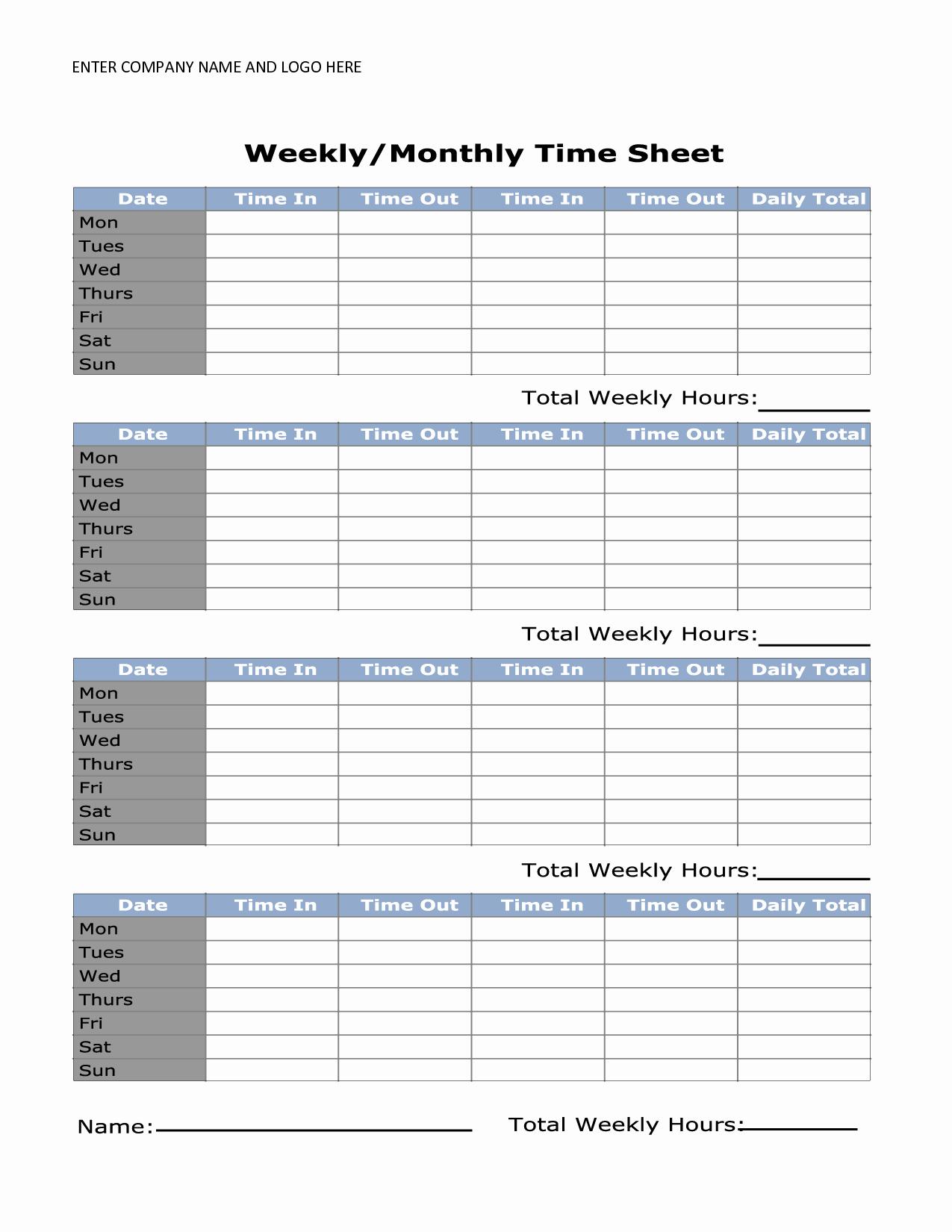 Daily Time Sheets Free Printable Unique Printable Weekly Timesheet Template Uma Printable