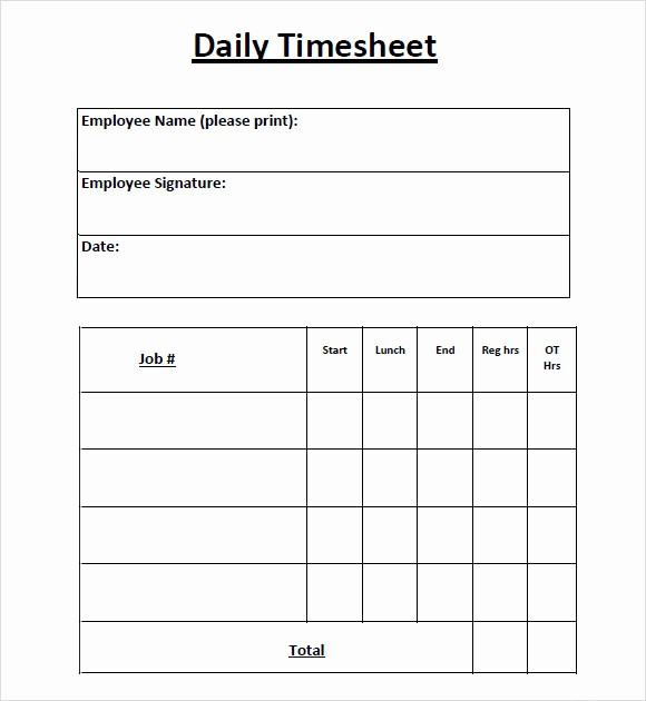 Daily Timesheet Template Free Printable Awesome 8 Sample Daily Timesheet Templates