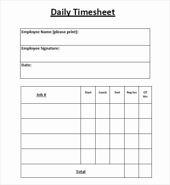 Daily Timesheet Template Free Printable Awesome 8 Sample Daily Timesheet Templates