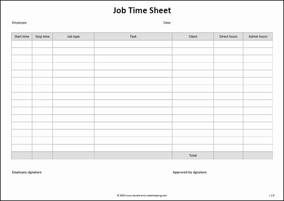 Daily Timesheet Template Free Printable Best Of 9 Best Of Free Printable Time Sheets Templates