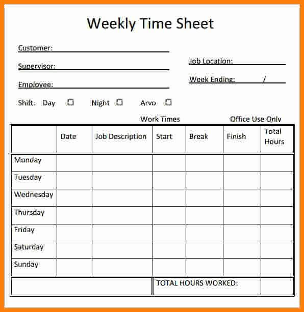 Daily Timesheet Template Free Printable Fresh Weekly Time Sheets Free Printable Printable Pages
