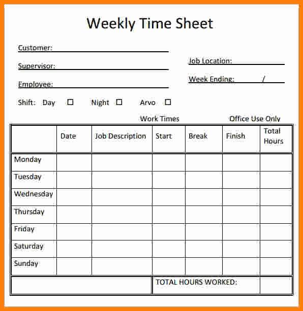 Daily Timesheet Template Free Printable Fresh Weekly Time Sheets Free Printable Printable Pages