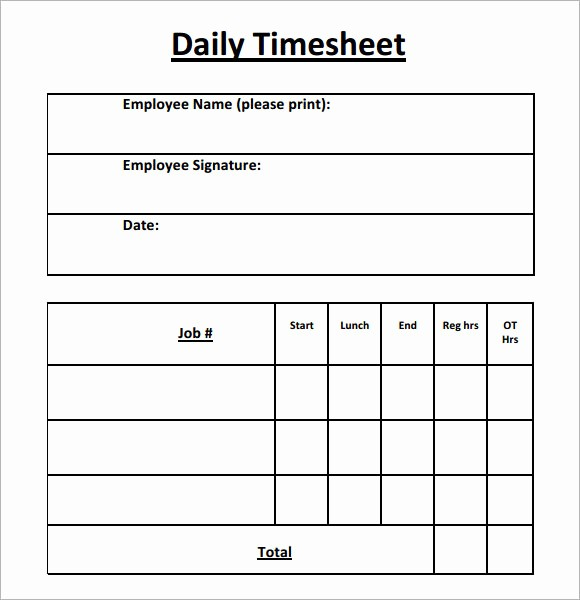 Daily Timesheet Template Free Printable Inspirational 15 Sample Daily Timesheet Templates to Download