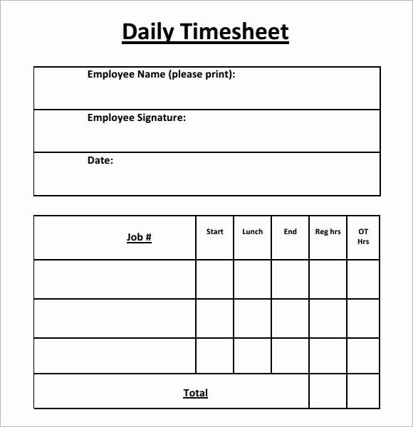 Daily Timesheet Template Free Printable Inspirational 15 Sample Daily Timesheet Templates to Download
