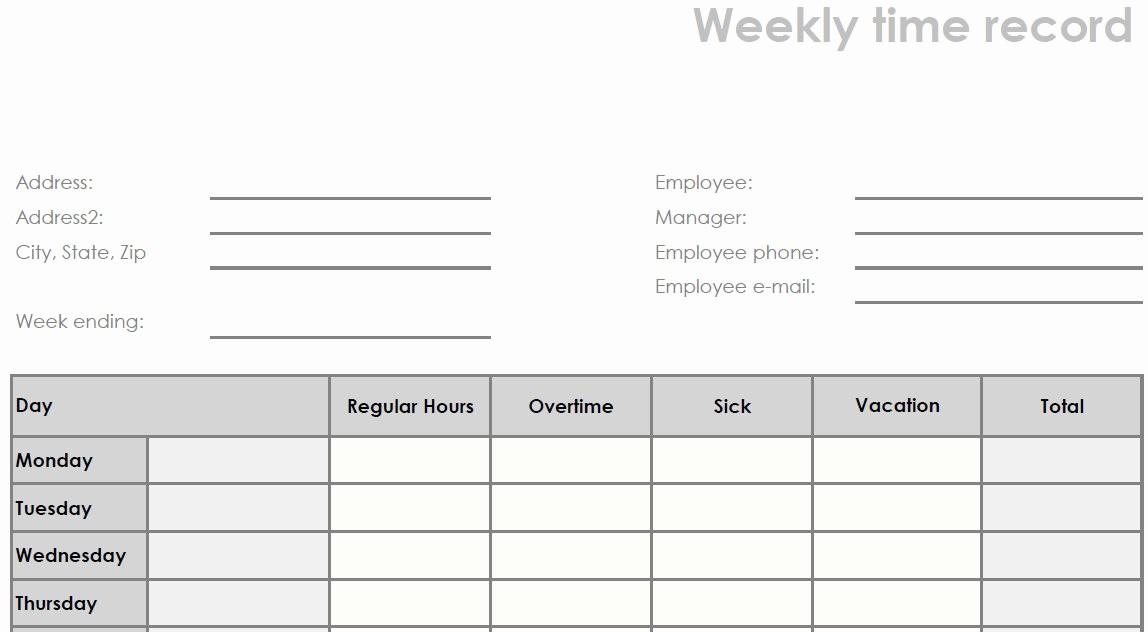 Daily Timesheet Template Free Printable Inspirational Blank Time Sheets