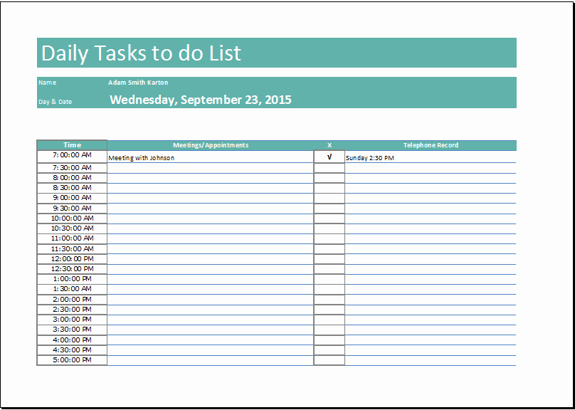 Daily to Do List Examples Beautiful Daily Task List Template