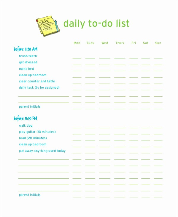 Daily to Do List Examples Inspirational Daily to Do List Template 7 Free Pdf Documents Download