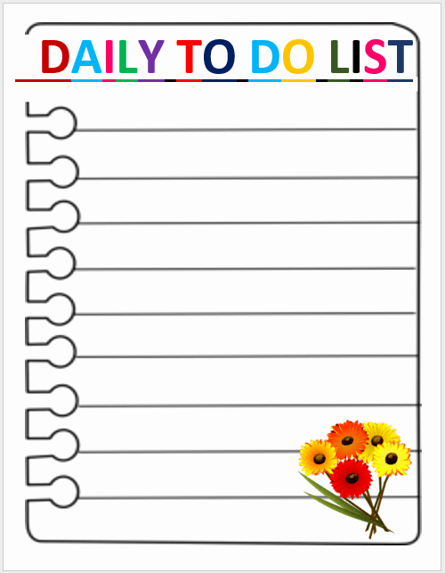 Daily to Do List Examples Inspirational Daily todo List Template