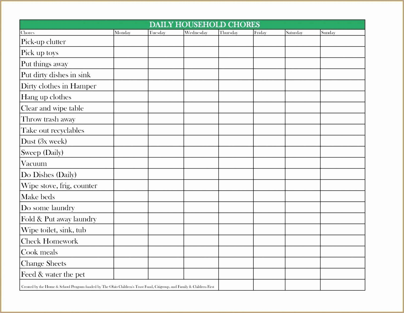 Daily Weekly Monthly Checklist Template Beautiful Lovely Chore Chart Template Daily Weekly Monthly