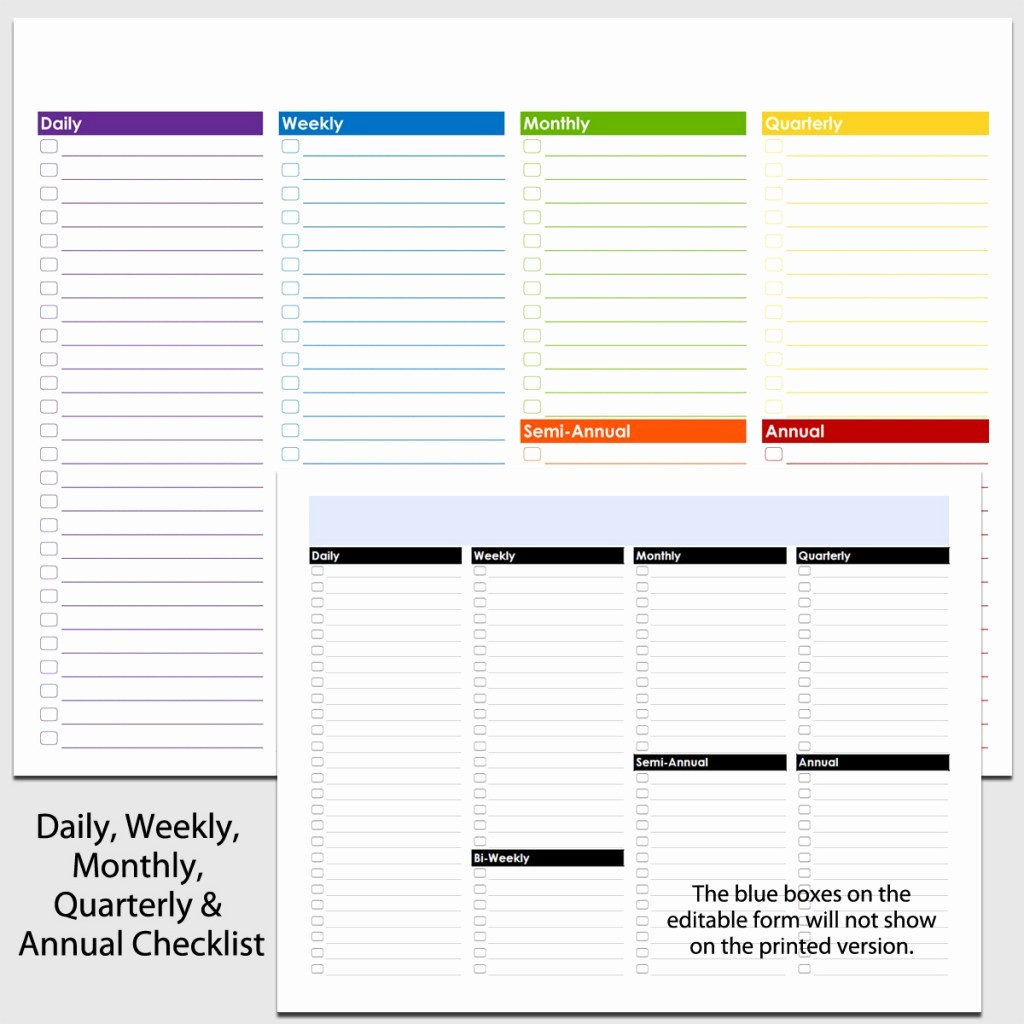 Daily Weekly Monthly Checklist Template Elegant Daily Weekly to Annual Checklist In Landscape 8 1 2″ X