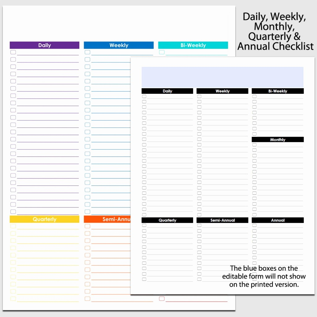Daily Weekly Monthly Checklist Template Fresh Daily Weekly to Annual Checklist In Portrait 8 1 2″ X