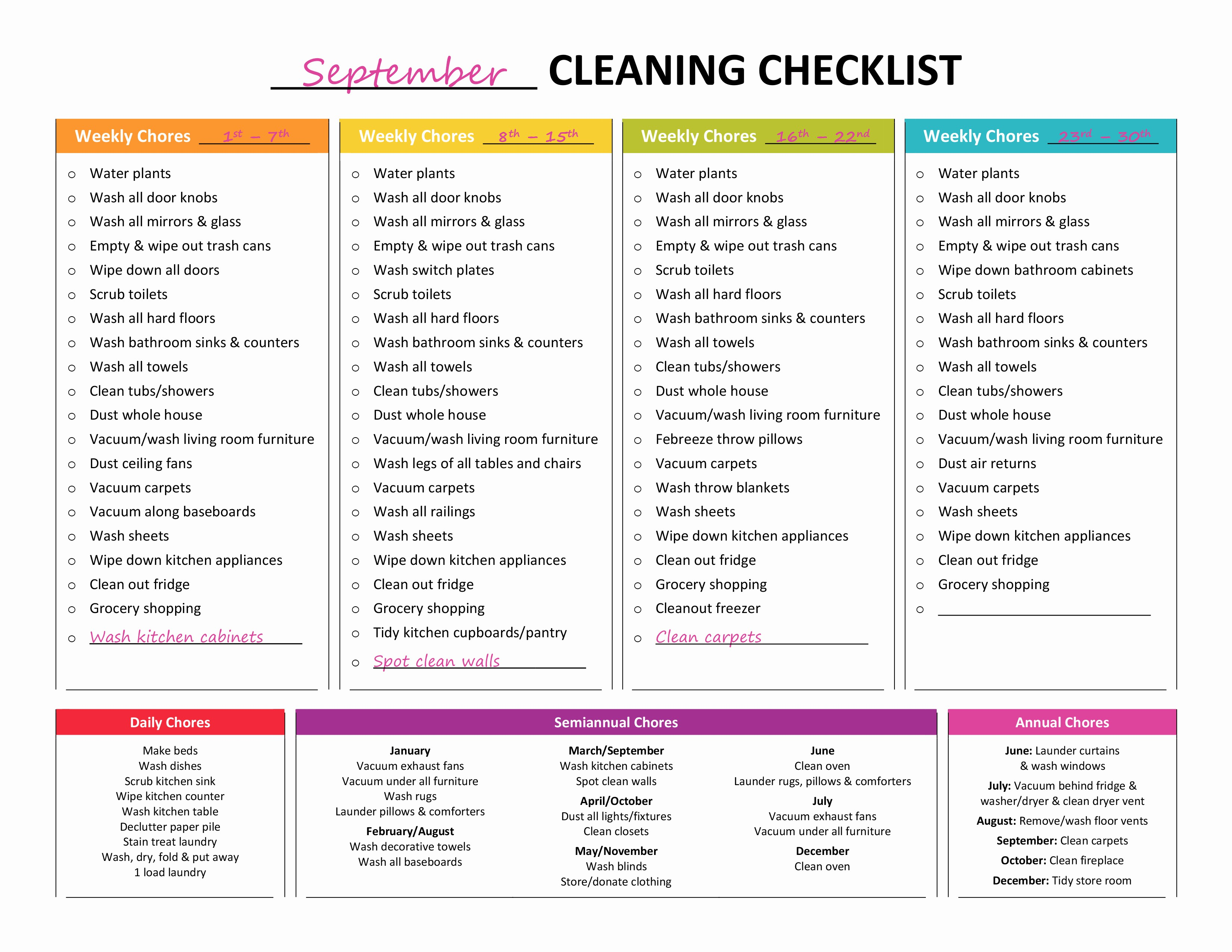 Daily Weekly Monthly Checklist Template New Plete Housekeeping Printable Set