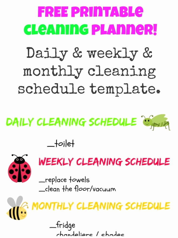 Daily Weekly Monthly Checklist Template Unique Free Printable Cleaning Planner