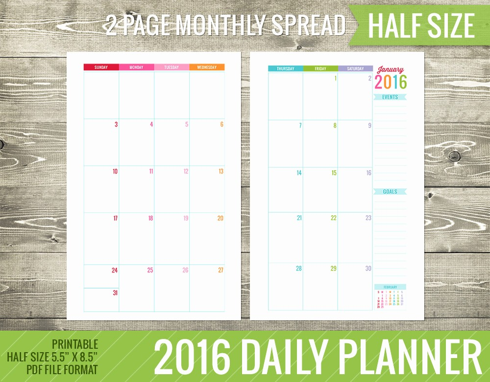 Daily Weekly Monthly Planner Template Awesome 6 Best Of Monthly Calendar 2015 2016 Printables