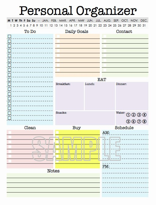 Daily Weekly Monthly Planner Template Awesome Personal organizer Editable Daily Planner Weekly