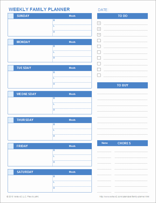 Daily Weekly Monthly Planner Template Beautiful Printable Family Planner Templates for Excel