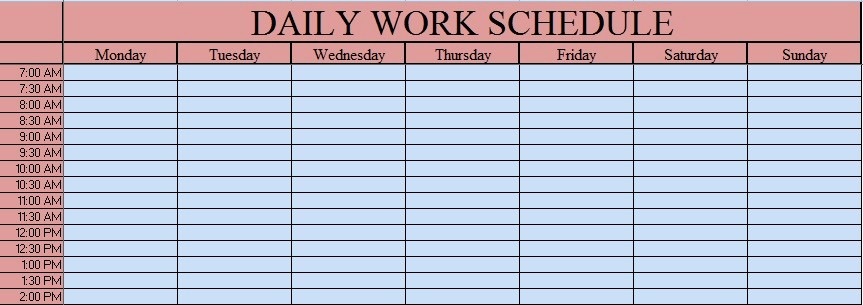 Daily Work Schedule Template Excel Beautiful Download Daily Work Schedule Excel Template Exceldatapro