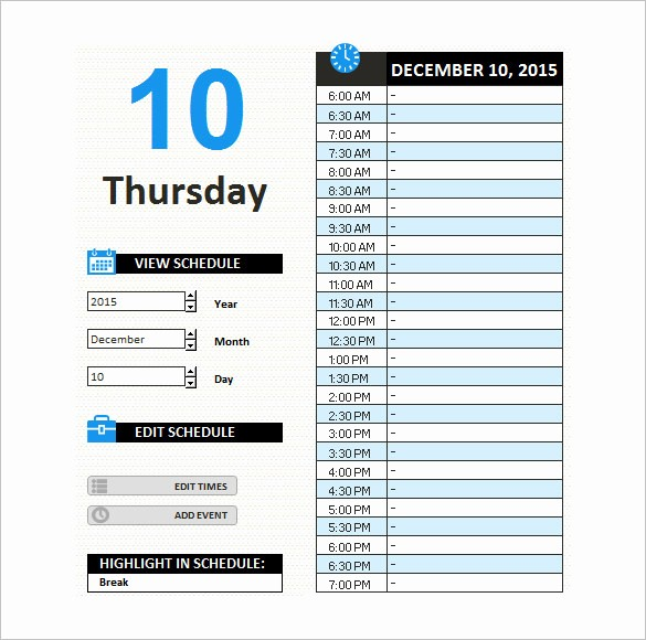 Daily Work Schedule Template Excel Fresh Blank Work Schedule Template 4 Free Word Excel