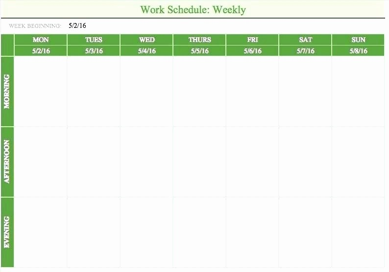 Daily Work Schedule Template Excel Fresh Monthly Schedule Maker Sun Weekly Work Schedule Template