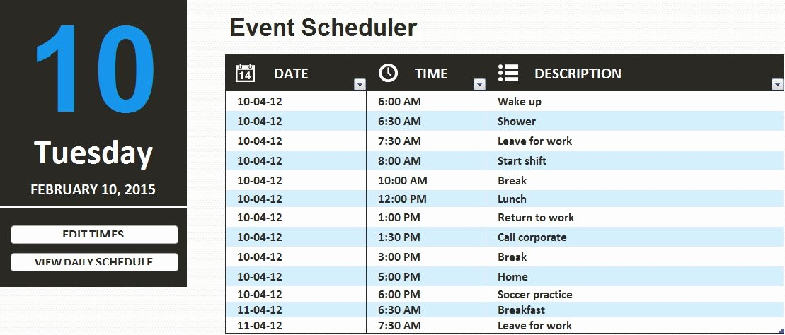 Daily Work Schedule Template Excel Inspirational Ms Excel Daily Work Schedule Template