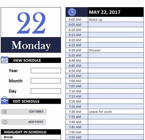 Daily Work Schedule Template Excel Luxury Daily Work Schedule Myexceltemplates Schedule Template