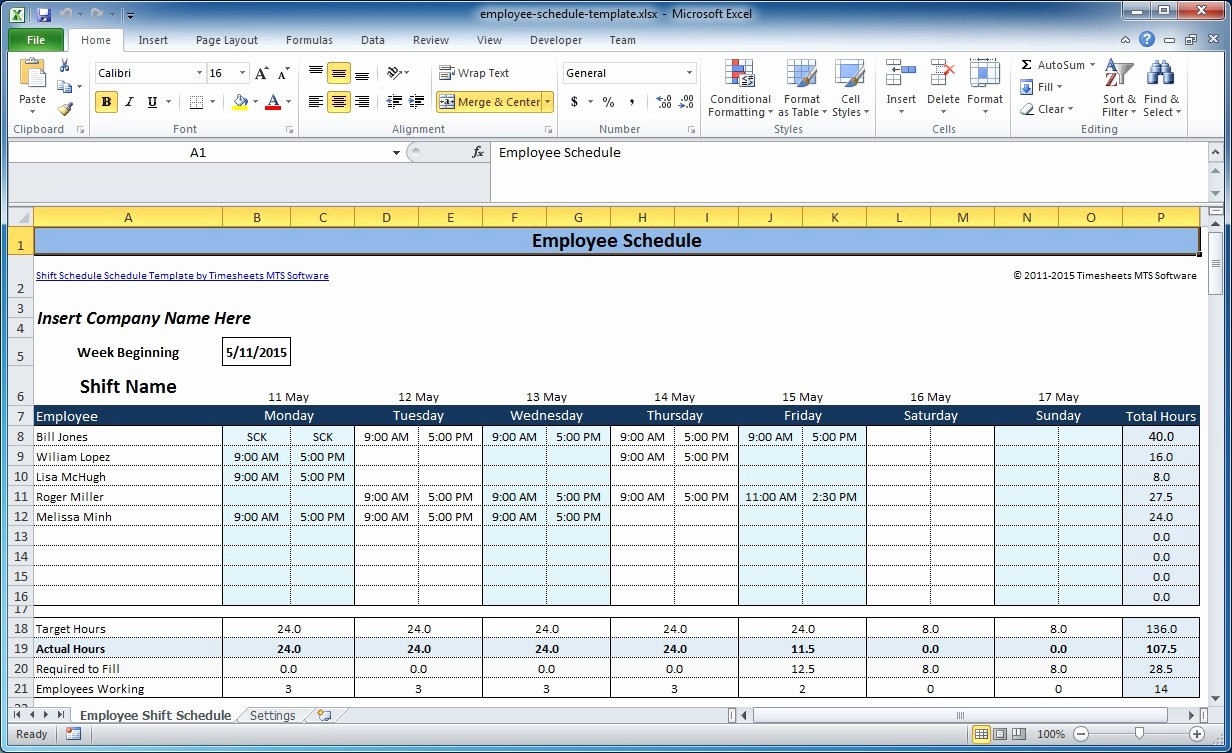 Daily Work Schedule Template Excel Luxury Free Employee and Shift Schedule Templates
